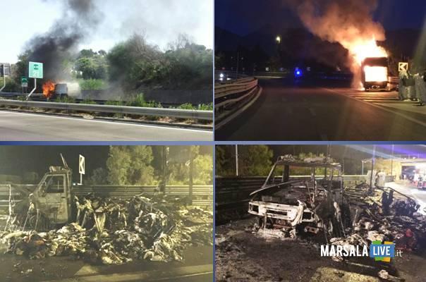 Paura-sulla-A29-Palermo-Mazara-furgone-in-fiamme