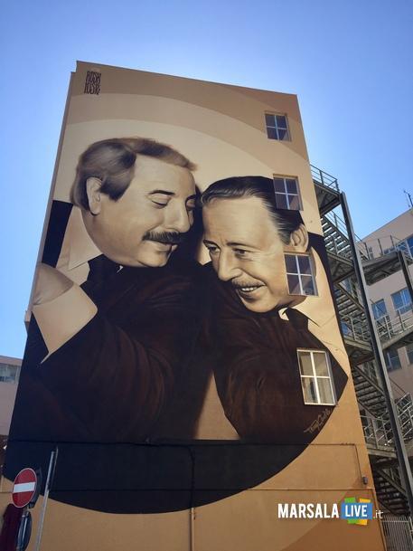 murales a Palermo per Falcone e Borsellino