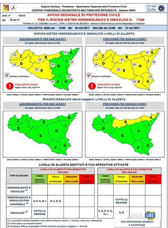 Maltempo in Sicilia allerta Protezione civile piogge intense
