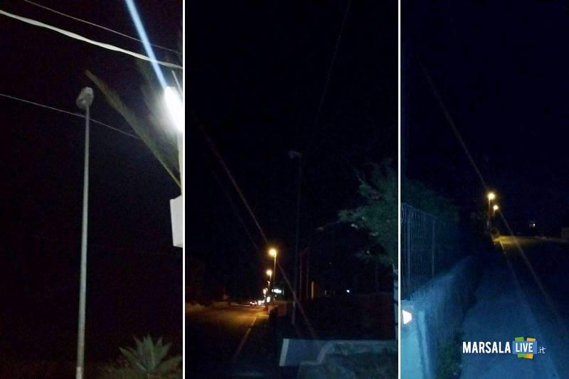 Sulla via Nazionale palo della luce spento molto pericoloso