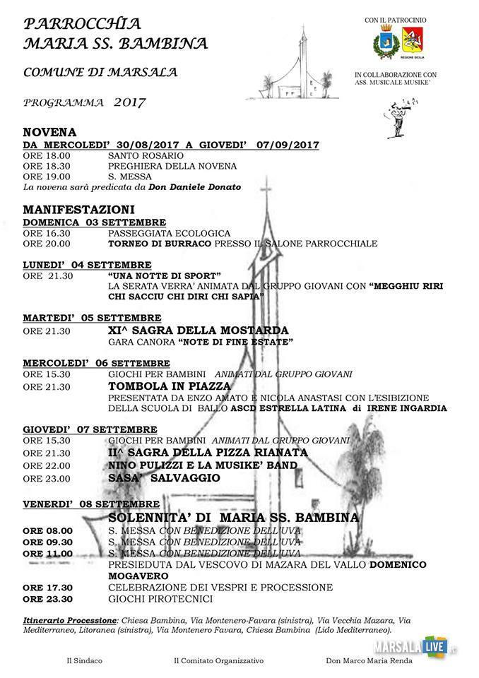 festa terrenove bambina marsala 2017 programma