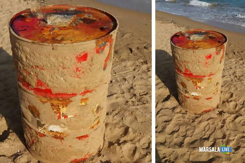 recipiente abbandonato sulla spiaggia di Tre Fontane