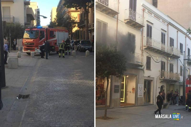 Marsala incendio in un deposito di un negozio di via Roma