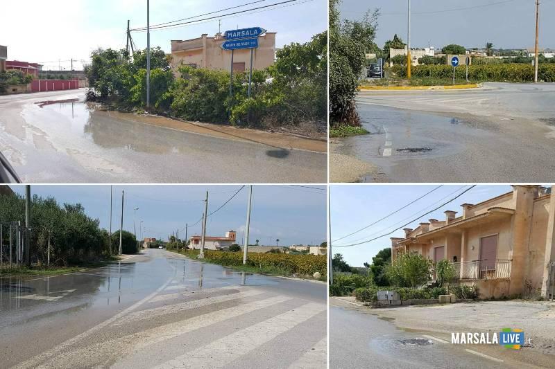 marsala perdita di acqua in strada da un tombino