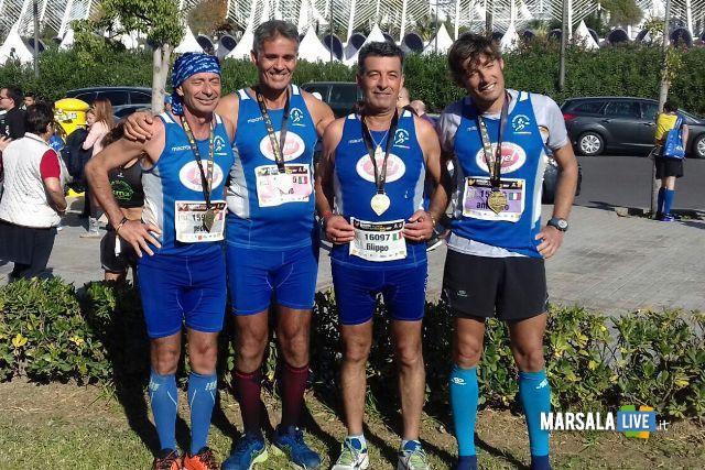 - Atl. - Atleti Polisportiva Marsala Doc a Valencia - da sinistra Pietro Sciacca, Pino Valenza, Filippo Struppa, Nino Genna
