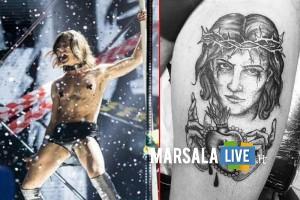 Damiano dei Maneskin Tatuaggio gesù Cristo