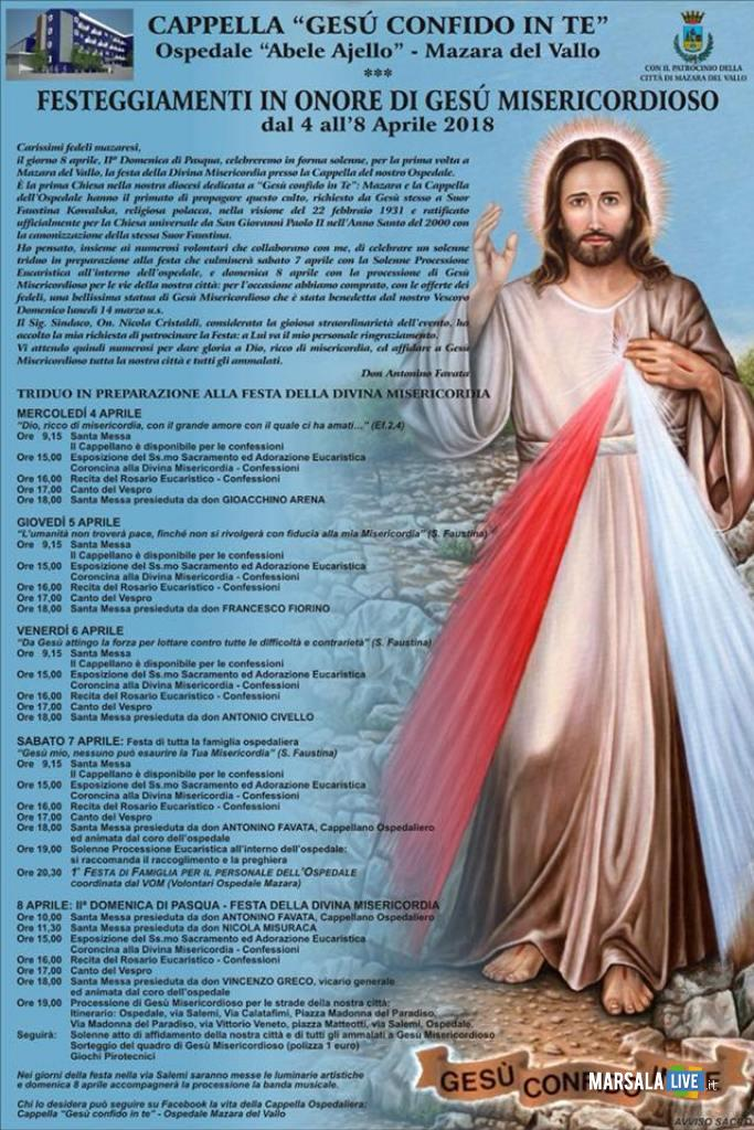 festa divina misericordia mazara Gesù misericordioso