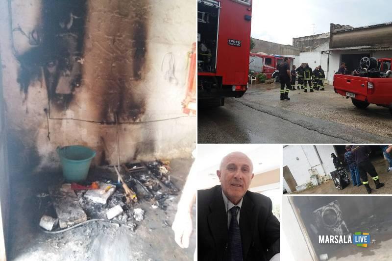 Marsala, Barraco, Incendio causato da un fulmine a Strasatti