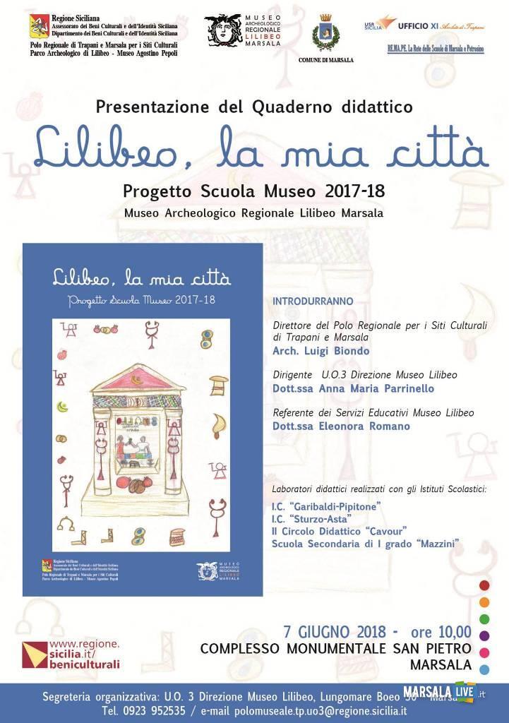 Quaderno didattico Lilibeo, la mia città Marsala Locandina