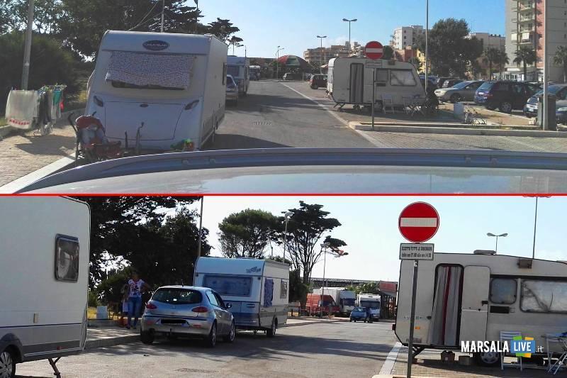 posteggio comunale o un campo rom a Marsala