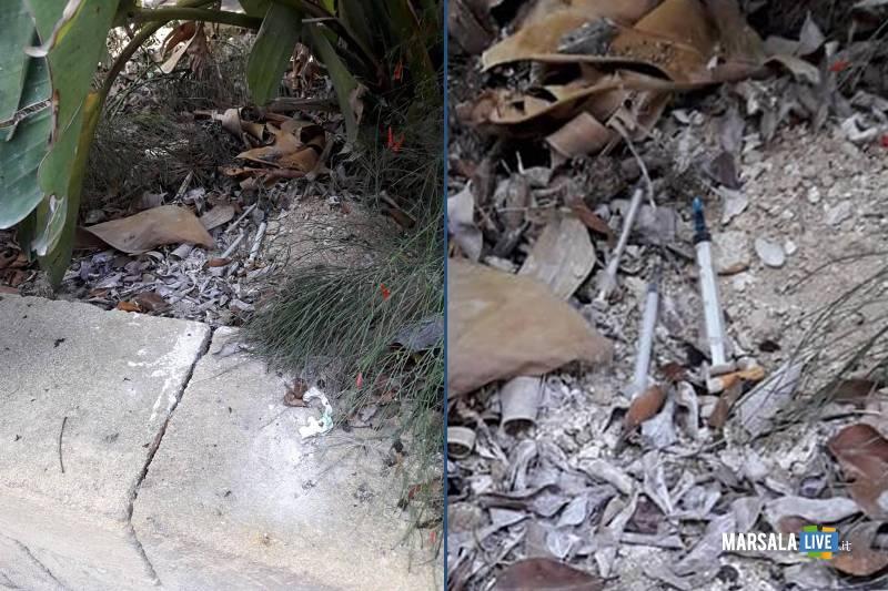 Giardini della Vittoria a Marsala, trovate siringhe. i cittadini lanciano l_allarme
