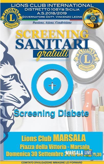 screening diabete locandina Marsala Lions