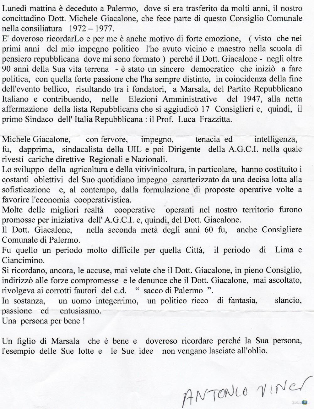 Il consigliere Antonio Vinci ricorda la figura di Michele Giacalone