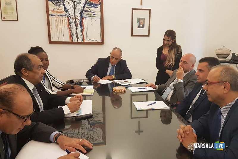 Incontro fra Ministro pesca Agricoltura Egitto Abusteit_Assessori regionali Turano e Bandiera_ Pres DistrettoCarl ino
