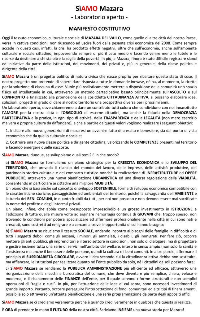 Manifesto costitutivo SìAMO Mazara, nasce un nuovo progetto politico di natura civica