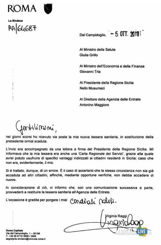 virginia raggi sindaco Roma - tessera sanitaria regione sicilia 2018