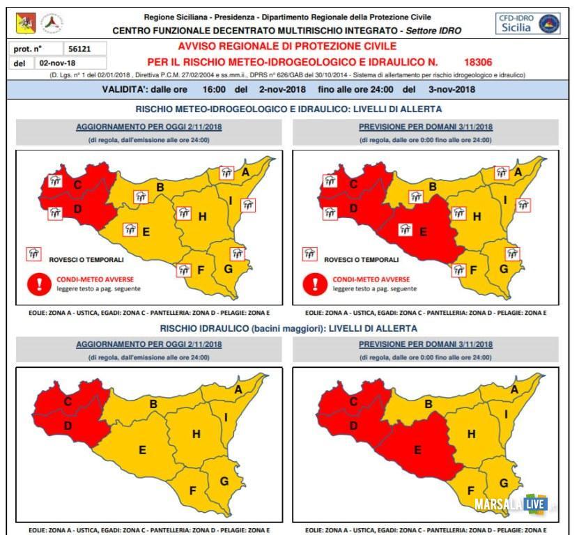 allarme protezione civile marsala sicilia