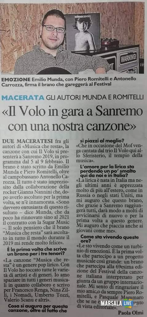 paola olmi, articolo Il Volo Sanremo 2019