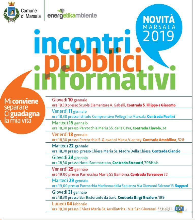 Calendario incontri informativi