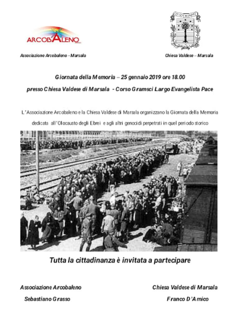 giornata-memoria-olocausto - chiesa valdese, ass Arcobaleno Marsala