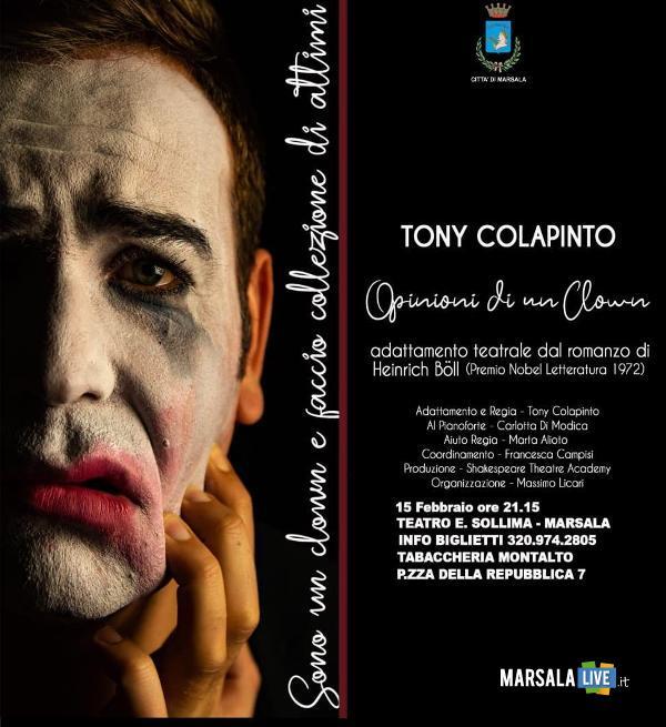Opinioni di un clown, con Tony Colapinto. Sollima Marsala