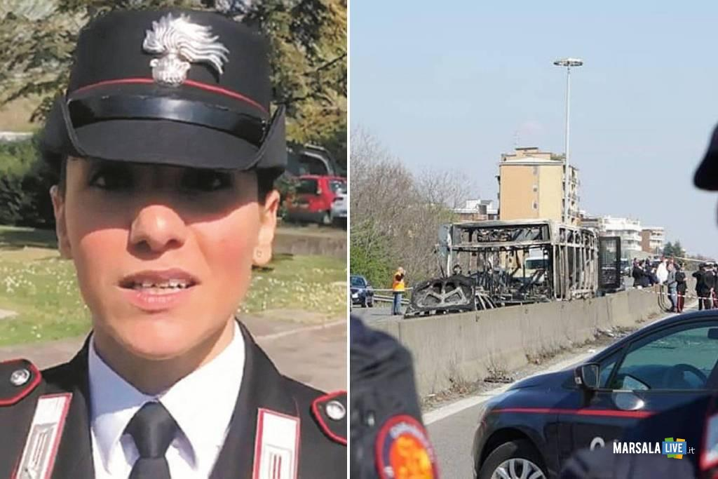 Giovanna Calvaruso tra i Carabinieri eroi bus crema