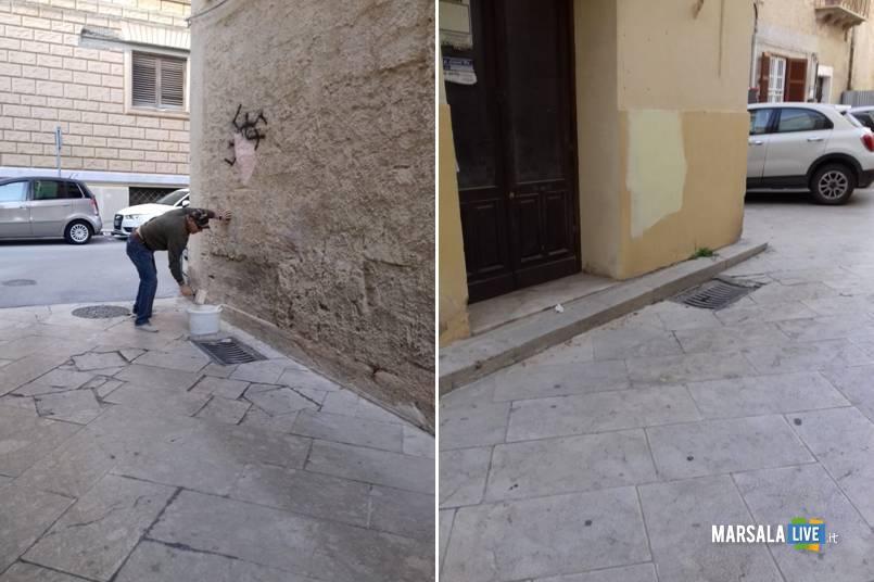 Marsala, cancellate scritte e svastiche sui muri