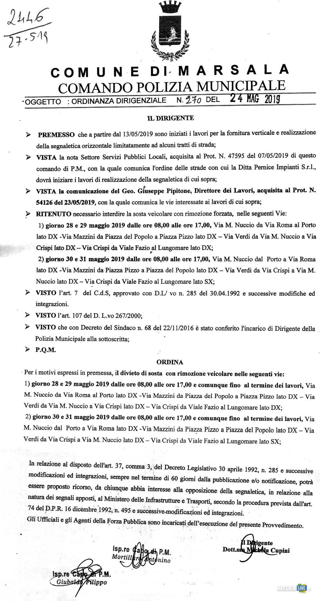 Ordinanza del Comando della Polizia Municipale, Marsala