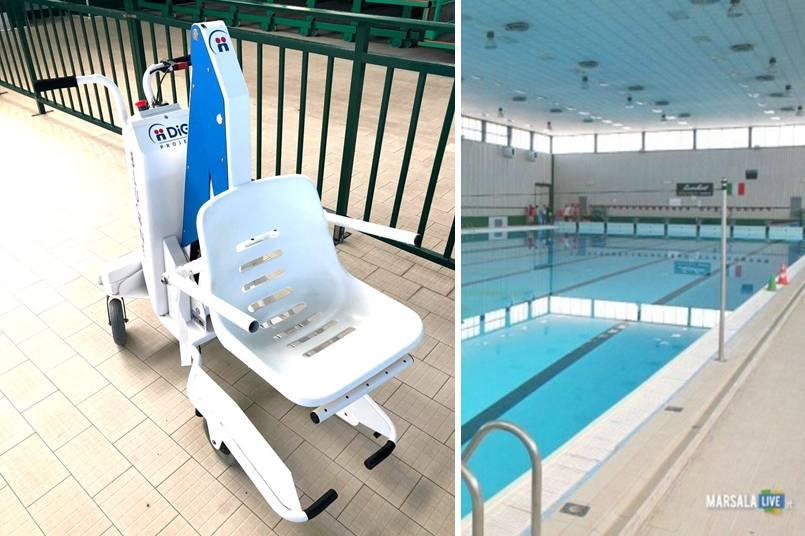 sollevatore disabili, piscina comunale marsala