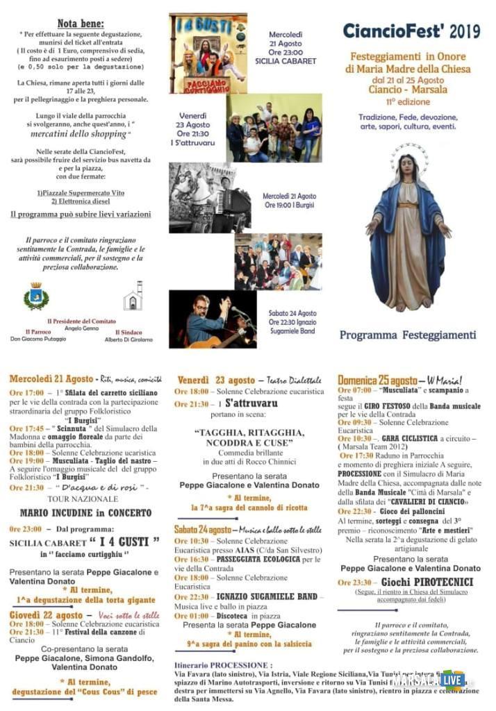 Programma completo cianciofest 2019
