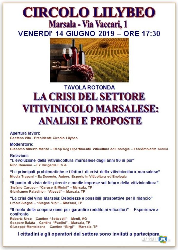 Tavola rotonda sulla crisi vitivinicola marsalese 2019.