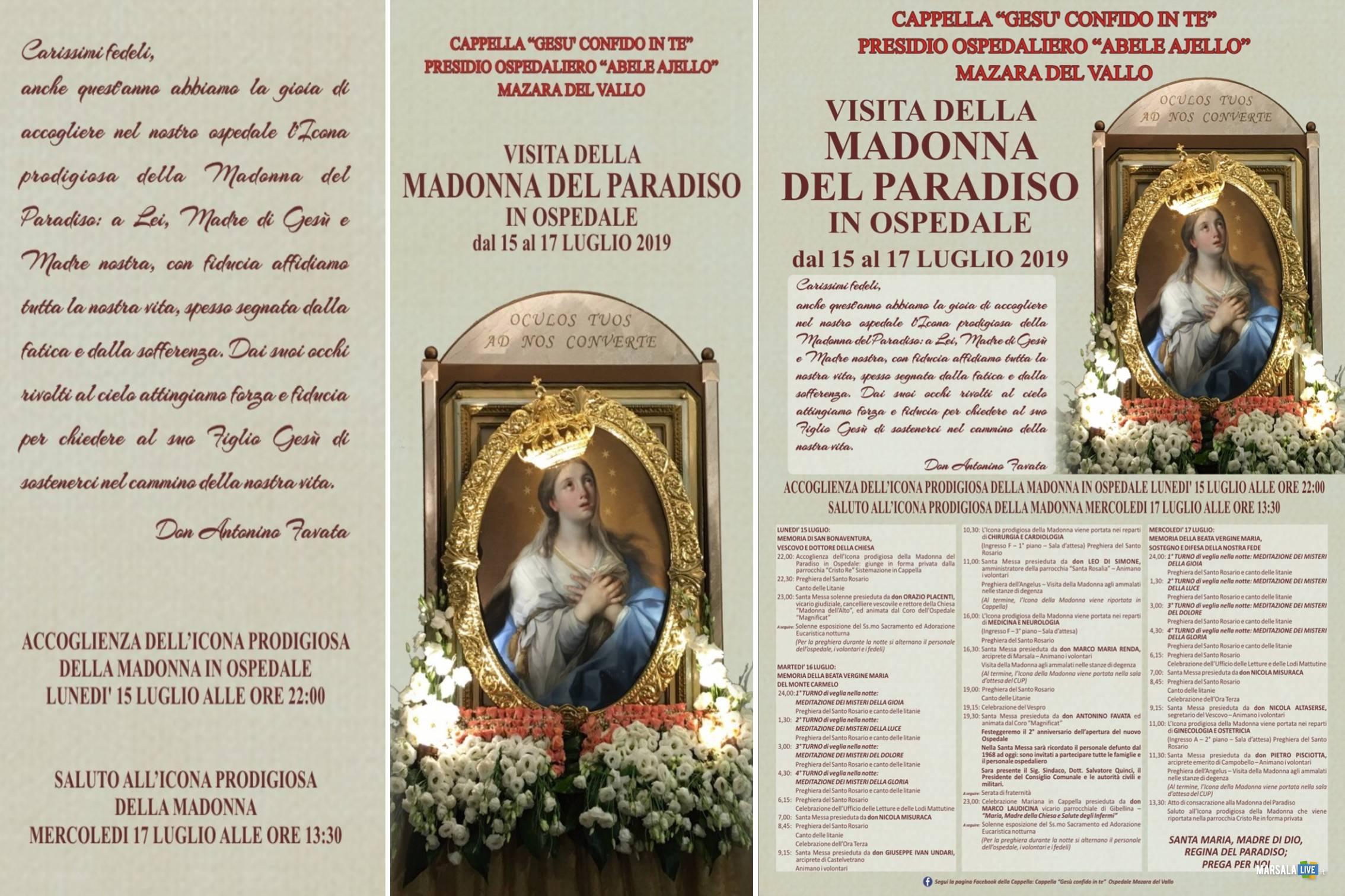 Madonna del Paradiso in ospedale a Mazara