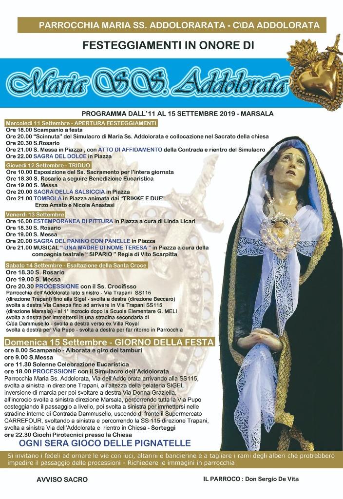 Marsala, Festa parrocchiale in onore a Maria SS Addolorata