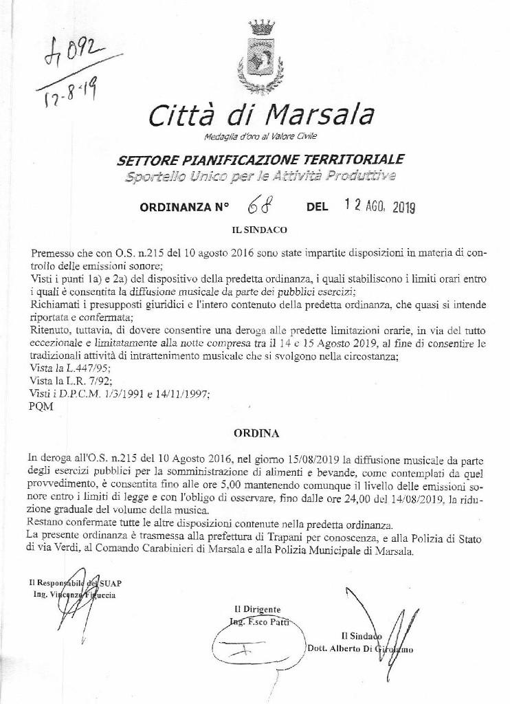 Notte di Ferragosto a Marsala deroga a diffusione musicale