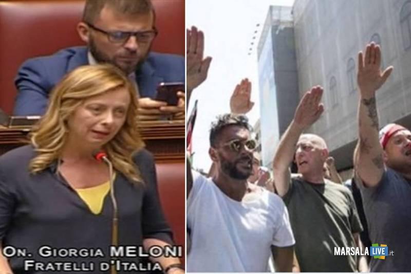 meloni saluto romano fascista