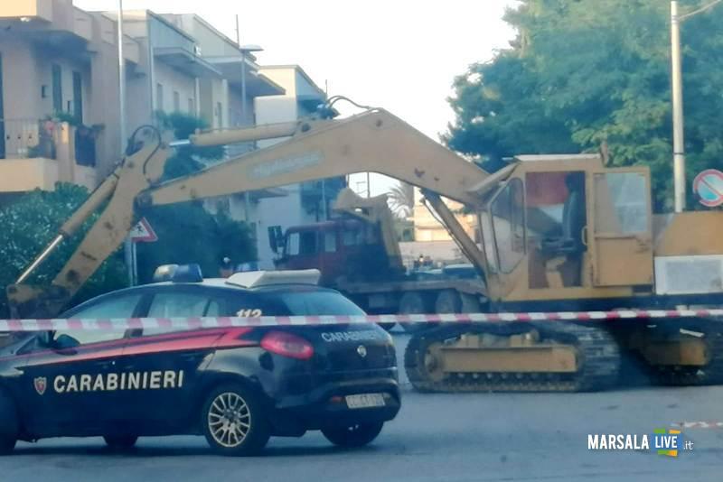 Marsala, sradicato bancomat con escavatore a Terrenove-Bambina (3)