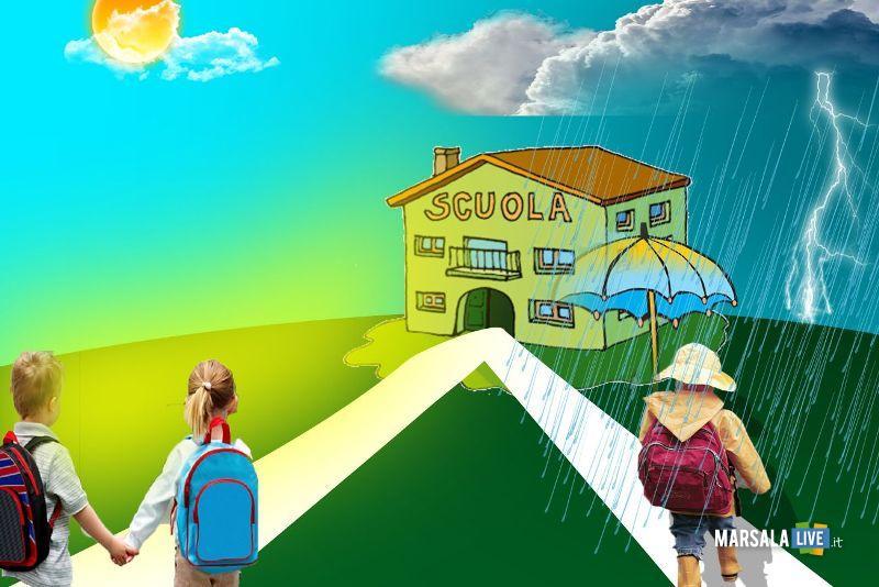 pioggia, caldo, scuola