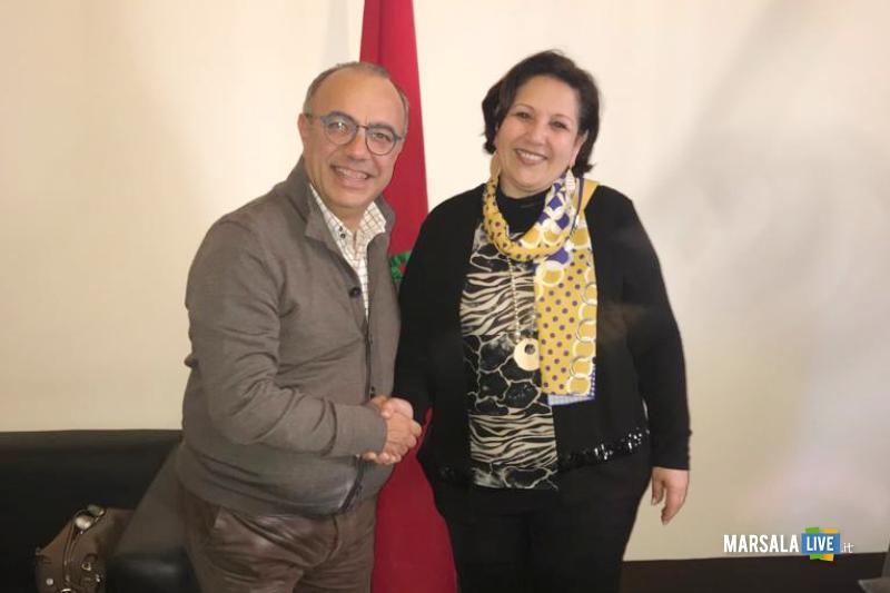 Il Presidente del Distretto della Pesca, Nino Carlino, ed il Console Generale del Marocco, Fatima Baroudi.