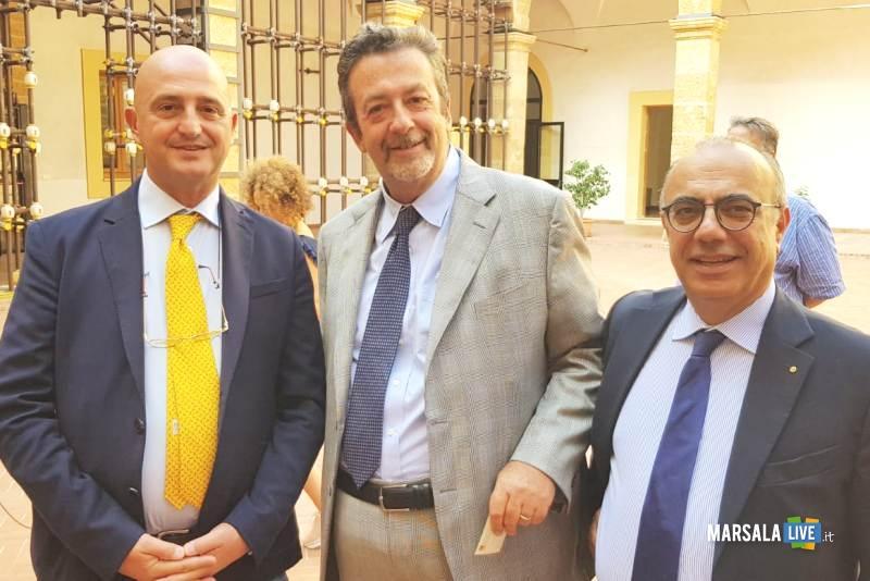 L'Assessore Regionale Mimmo Turano con il Vice Commissario per Italia Dubai 2020, Marcello Fondi, ed il Presidente del Distretto della Pesca, Nino Carlino