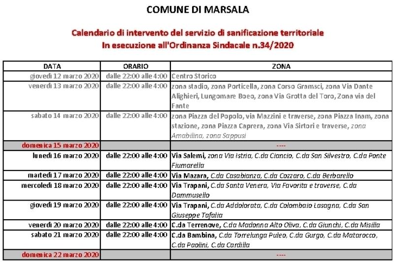 Calendario Sanificazione Marsala