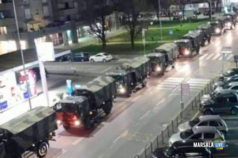 bergamo, furgoni militari con 60 salme, coronavirus (1)