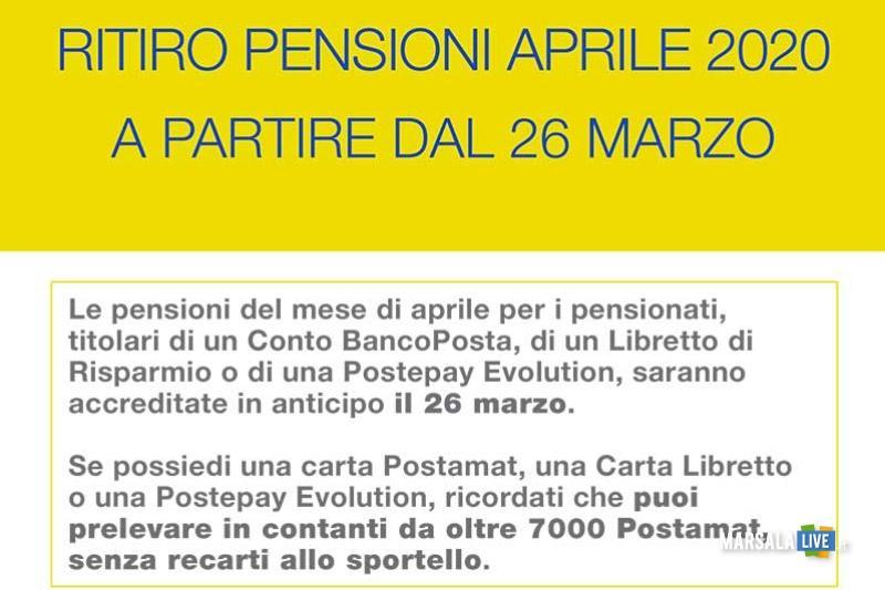 schema per il pagamento delle pensioni aprile 2020