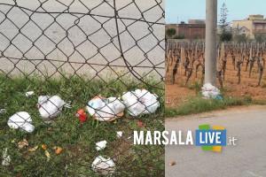 Buste di spazzatura via vecchia mazara, marsala