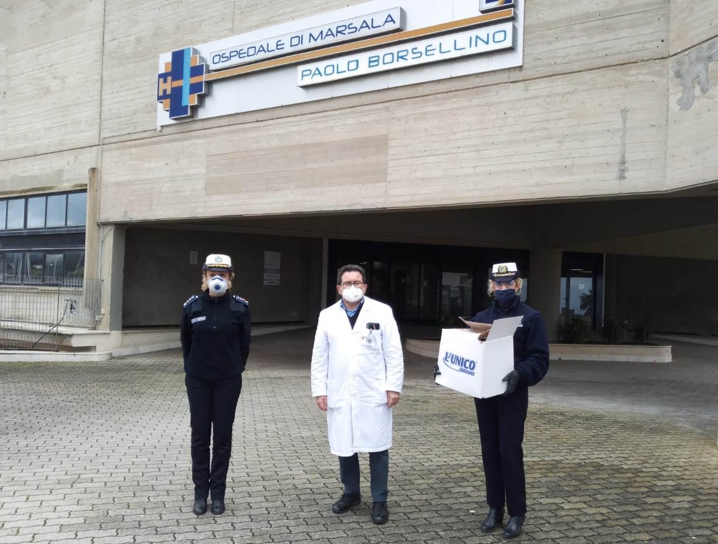 Polizia Municipale Marsala, visiere e tute Ospedale Paolo Borsellino (2)