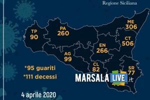 coronavirus 2020, aprile 4 province sicilia